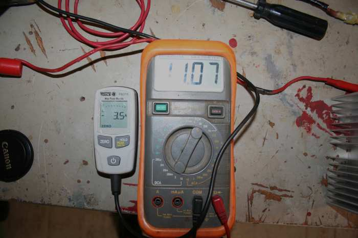 Ampmeter & Voltmeter: Ampmeter and Voltmeter testing the ThermoElectric device.