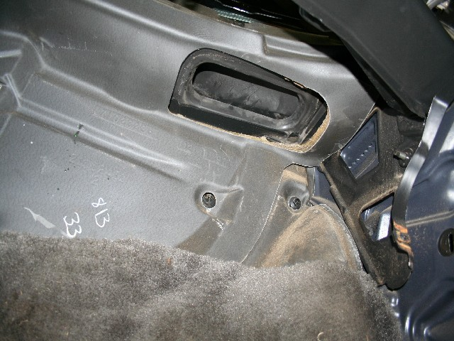 Looking Up Under Right Side of Dash At Fresh Air Intake