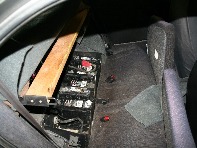Middle battery box with one battery removed