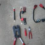 Lead acid cables verses Lithium cables: Lead acid cables verses Lithium cables shown with the tools, crimper, stripper, cutter