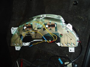 Instrument Cluster Back with soldered gauge light wires..