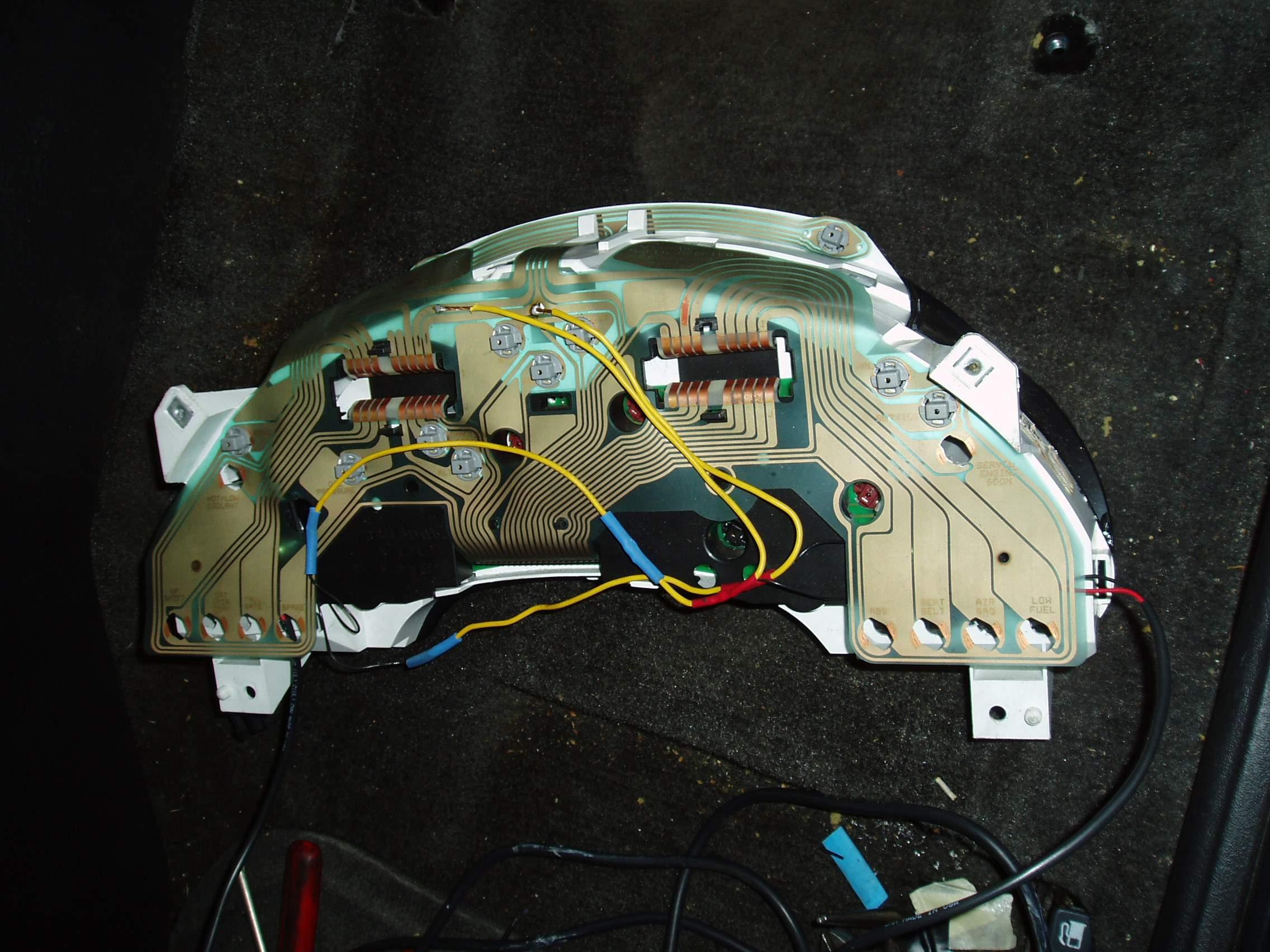Instrument Cluster Back with soldered gauge light wires..