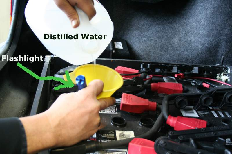 Servicing Batteries with Distilled Water