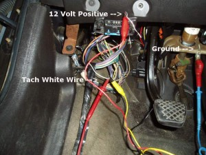 I attached the tach generator to a positive feed at the ALDL connector, ground to pedal bracket and yellow lead to the tachometer lead going into the cluster.I attached the tach generator to a positive feed at the ALDL connector, ground to pedal bracket and yellow lead to the tachometer lead going into the cluster.