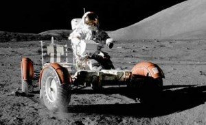 1972 Lunar Roving Vehicle (LRV) Astronaut Eugene A. Cernan, commander,during the early part of the first Apollo 17 Extravehicular Activity (EVA-1) at the Taurus-Littrow landing site.